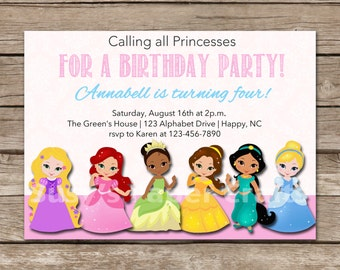 Disney Princesses Birthday Invitation, Digital File, You Print