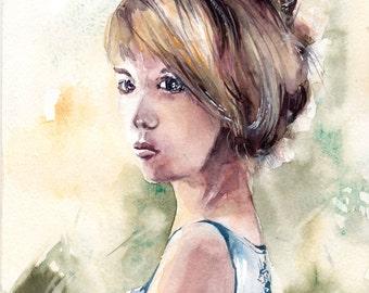 Original Watercolor Painting, Young Woman Portrait Painting, Watercolour Art
