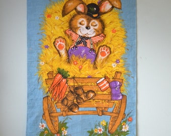 Vintage artwork retro Wall hanging farmer rabbit Expression fabric print