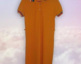 70s rainbow collared dress