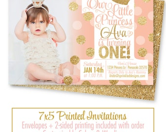 Ballerina First Birthday Invitation Photo Card Tutu Cute So - First birthday invitations girl pink and gold
