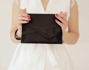 Black leather clutch Black party clutch Black evening bag Black wedding clutch CollectionWN