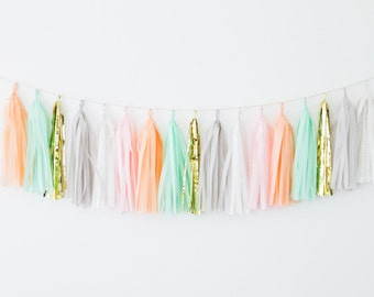 Peach, Mint and Gold Tassel Garland- Peach Party Decor, Peach and Gray Nursery Decor, Peach Baby Shower Decoration Peach and Mint Decor