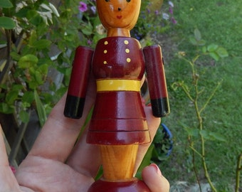 """Antique Wooden Toy ~ Girl ~ Big Sister ~ 5"""" Tall"""