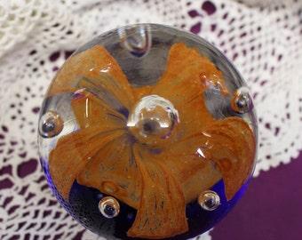 Large Vintage Handmade / Hand Made Glass Art Paper Weight Decoration in Blue / Orange Gold Flower