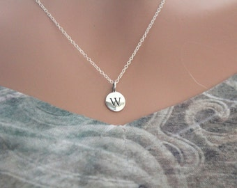 Sterling Silver Simple W Initial Necklace, Silver Stamped W Necklace, Stamped W Initial Necklace, Small W Initial Necklace, W Initial Charm