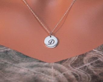 Sterling Silver Cursive Circular D Initial Charm Necklace, Cursive D Initial Necklace, Large D Letter Necklace, D Necklace, D Charm Necklace