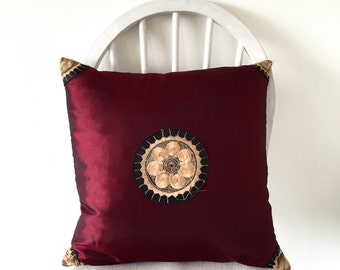 vintage 1970s red and gold embroidered bohemian decorative pillow