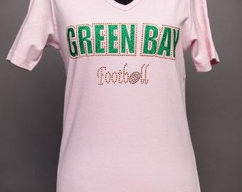 Green Bay Football Rhinestone Pink Shirt