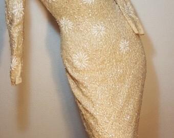 FREE  SHIPPING  Designer 1950 Sequin Bead Dress