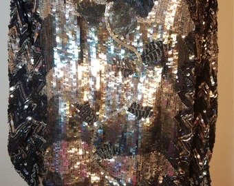 FREE  SHIPPING  1980 Silk Bead Sequin Top