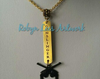 Limited Edition Stephen King Dark Tower Inspired Gunslinger Engraved Brass & Gold Necklace with Black Crossed Guns Charm