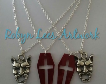 Silver Devil Mask and/or Red Laser Cut Coffin Pendant with Cross on Silver Chain