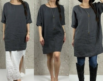 Loose 1/2 Sleeve Tunic Dress - shirt