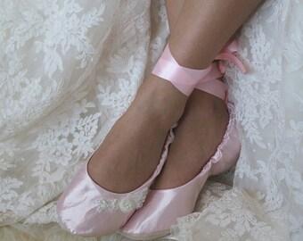 Pink Ballet Wedding Flat Shoes,  Pink Bridal Ballet Flats