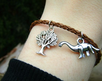 Vegan bracelet - Vegetarian bracelet - Quirky Dinosaur Bracelet - tree of life bracelet mothers day gift