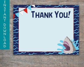 Sharks Thank you card | printable and digital file | Shark Ocean Waves Jaws Birthday Party