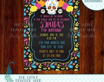 Sugar Skull Day of the Dead Digital and Printable Birthday Party Invitation | Skulls Dia de los Muertos Kids Girls Child