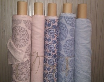100 % Linen softened fabric / washed linen fabric