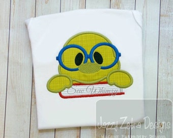 Bookworm with book Appliqué Embroidery Design - school appliqué design - teacher appliqué design  - book worm appliqué design