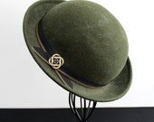 Wool Felt Hat, Handmade, Olive Green with Black and Brass Zipper Band