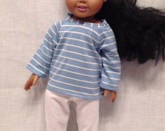 """18"""" Doll Outfit: Striped knit top with white capri pants for Maplelea and American Girl"""