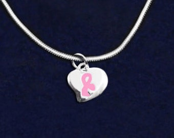 Pink Ribbon Breast Cancer Necklace - Puffed Heart Charm (RE-N-05-1)