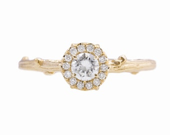 Twig Halo Ring in 14kt Yellow Gold with Forever One Moissanite