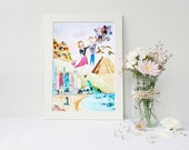 Personalized Gift for Couples - Travel Custom Portrait - Mixed-Media Illustration