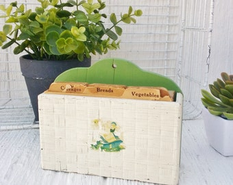 Wooden Recipe Box, Vintage Recipe Card Box, Green & White Recipe Box with Cards, Chippy Shabby Chic Kitchen Decor