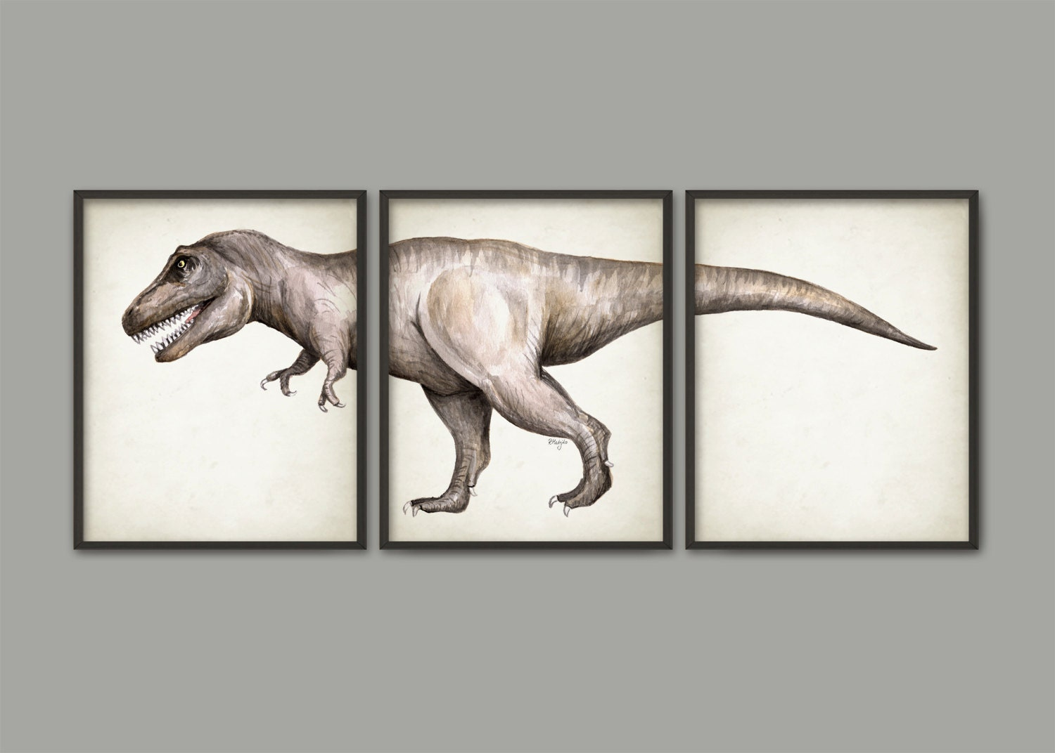 Tyrannosaurus rex dinosaur watercolor art poster set of 3 for T rex bedroom decor