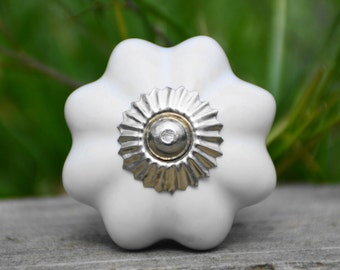 White melon knob/white cabinet knob/ceramic knob/drawer pull/dresser handle/door knob/decorative/unique/bathroom knob/kitchen knob/furniture