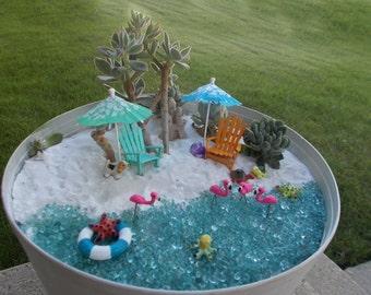 Set Of 4 Miniature Garden Beach Umbrellas Hawaiian Design! Fairy Garden  Beach Umbrella