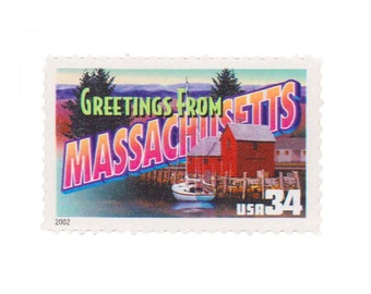 5 Unused US Postage Stamps - 2002 34c Greetings from Massachusetts - Item No. 3581