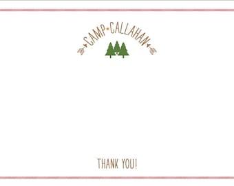 Boys Camp Themed Birthday Thank You Card - Printable