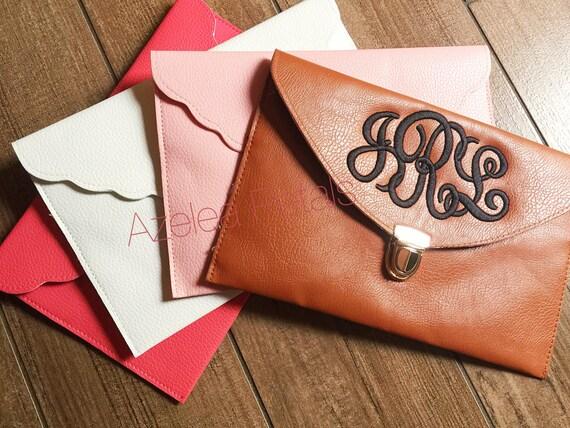 initial clutch envelope clutch monogram purse bridesmaid