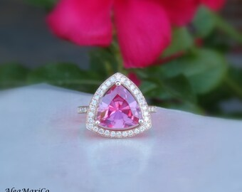 Pink Sapphire Ring, Pink Sapphire Engagement Ring, Pink Sapphire and Diamond Ring, 14kt Pink Gold, IN STOCK, Size 6