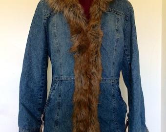 Vintage Denim/Jean Faux Fur Jacket/Coat- by Black Rivet