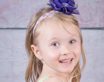 Purple Baby Headband Photo Prop - Little Girl Headband - Large Flower Head Band - Children's Headband - Purple Elastic Headband for Girls -