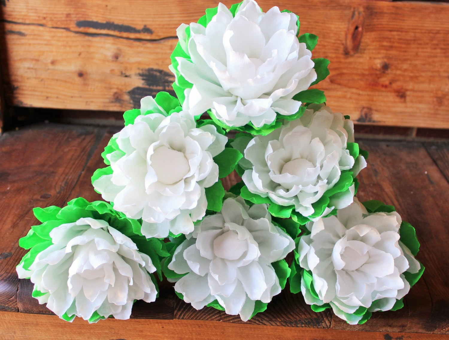 Mexican Crepe Paper Flowers Set of 6 White Chrysanthemum