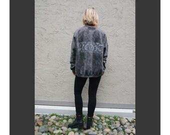 Grey Acid Wash Oversized Sweater with 90's Print