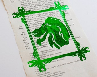 Scar Silhouette FOIL PRINT ONLY on Vintage book page of Alice's Adventures in Wonderland by Lewis Carroll