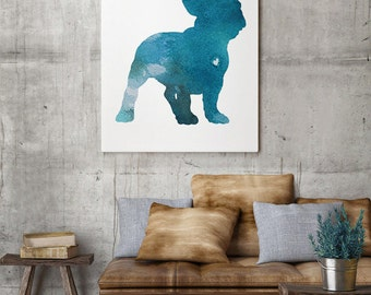 French bulldog silhouette, Watercolor Print, Turquoise Home Decor, Dog watercolor