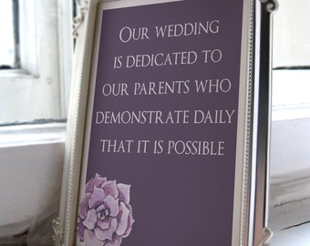 Wedding parent sign/wedding parent gift/Wedding sign/Reception Decor/Dedicated to Our Parents/Thank You to Mom & Dad/Ceremony Sign