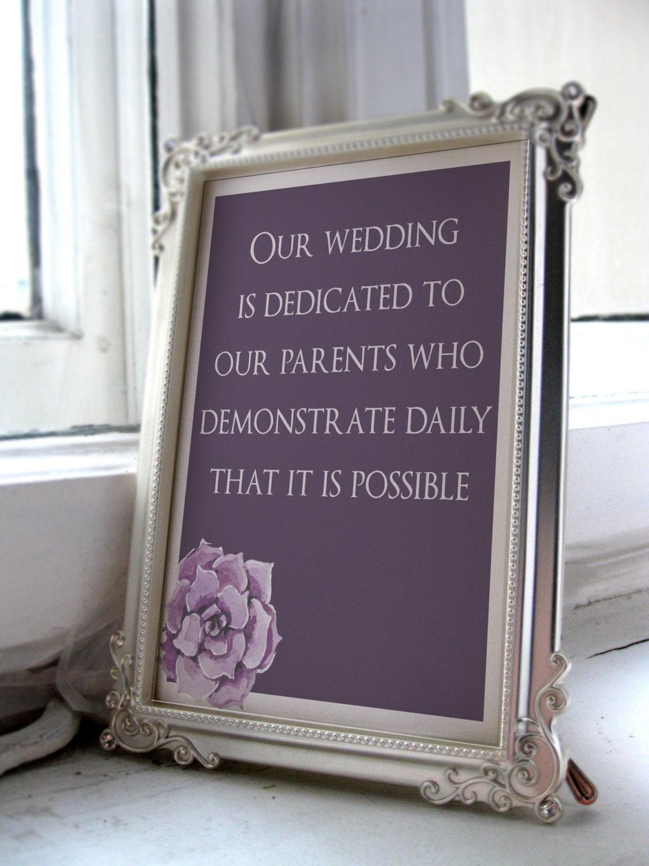 Wedding parent sign/wedding parent gift/Wedding sign/Reception