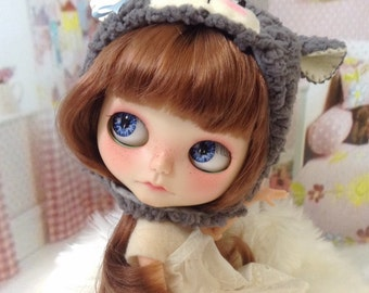 Blythe Doll Helmet / sheep / lamb / grey / faux fur / with face