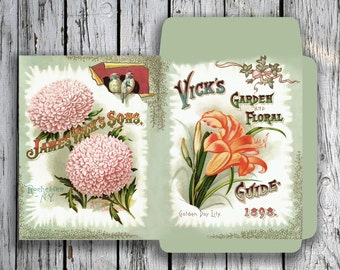 VINTAGE 4 - Printable DIY Mini Seed Packets Download Digital Collage Sheet - Print and Cut