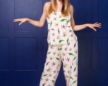 Birds Pajama/ Cami Sleep Set with Pants/ Cream Slip and Pants/ Bird Summer Pjs/ Camisole Set/ Silky Pyjama Loungewear/ Hummingbird Sleeper