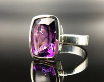 Purple Amethyst Ring - Size 9.5 and Size 5.5 - Faceted Rectangular Cushion Cut - Genuine Gemstone - Sterling Silver - February Birthstone