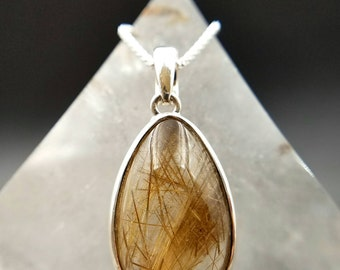 Gold Rutilated Quartz Crystal Pendant - Gorgeous Pear Shaped Sterling Silver Crystal Healing Jewelry For Anxiety - Manifestation Abundance